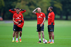 CARDIFF, WALES - Friday, September 2, 2016: Wales' Neil Taylor, David Cotterill and captain Ashley Williams during a training session at the Vale Resort ahead of the 2018 FIFA World Cup Qualifying Group D match against Moldova. (Pic by David Rawcliffe/Propaganda)