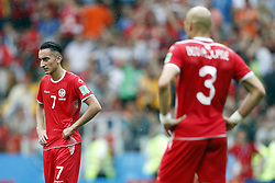 (l-r) Saifeddine Khaoui of Tunisia, Yohan Ben alouane of Tunisia during the 2018 FIFA World Cup Russia group G match between Belgium and Tunisia at the Otkrytiye Arena  on June 23, 2018 in Moscow, Russia