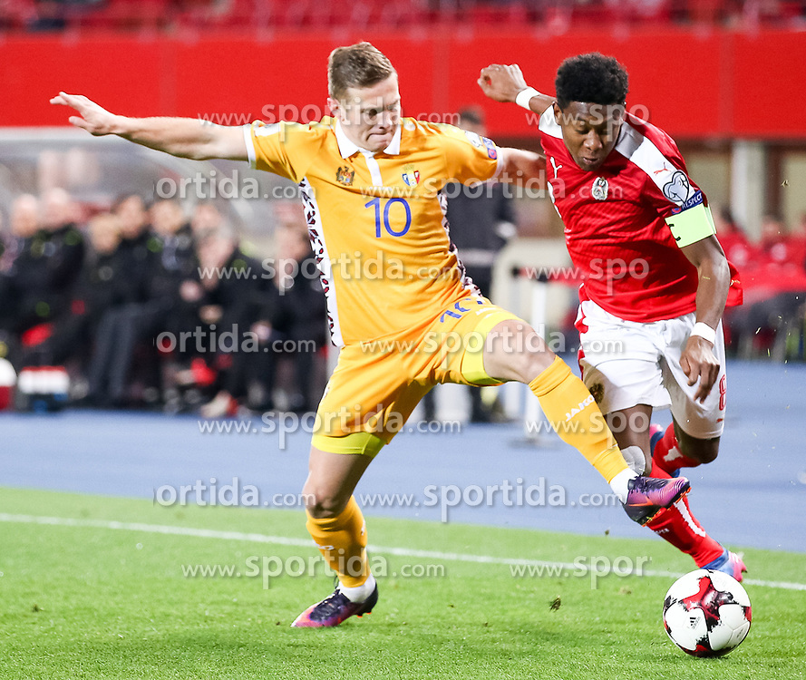 24.03.2017, Ernst Happel Stadion, Wien, AUT, FIFA WM 2018 Qualifikation, Oesterreich vs Moldawien, Gruppe D, im Bild Alexandru Dedov (MDA), David Alaba (AUT) // during the FIFA World Cup 2018, group D qualifying match between Austria and Moldova at the Ernst Happel Stadion in Wien, Austria on 2017/03/24. EXPA Pictures © 2017, PhotoCredit: EXPA/ Alexander Forst