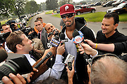 Former New York Giants star Plaxico Burress speaks to the media moments after being released from the Oneida County Correction Facility in Rome, NY, Monday, June 6, 2011. Burress pleaded guilty in August 2009 to attempted criminal possession of a weapon and was sentenced to two years in prison. .(AP/Heather Ainsworth)