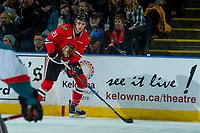 KELOWNA, CANADA - APRIL 7: Brendan De Jong #21 of the Portland Winterhawks skates with the puck against the Kelowna Rockets on April 7, 2017 at Prospera Place in Kelowna, British Columbia, Canada.  (Photo by Marissa Baecker/Shoot the Breeze)  *** Local Caption ***
