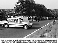 Police escort miners along Sheffield Parkway as they head for Orgeave during the 1984/85 miners strike.