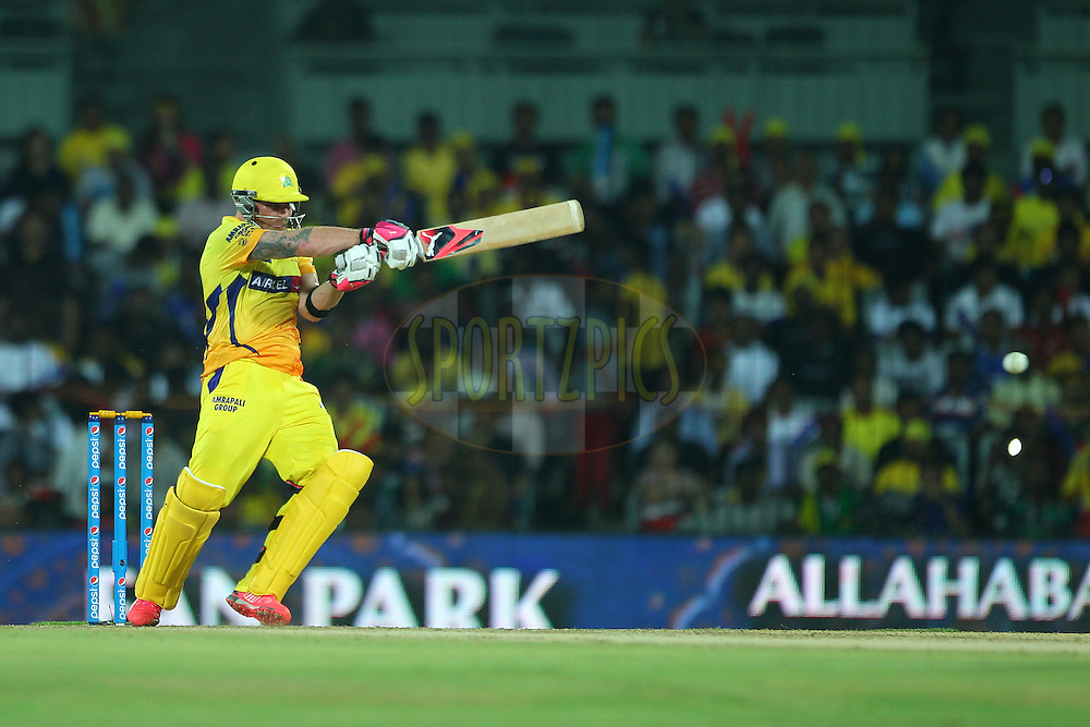 Brendon McCullum of the Chennai Superkings pulls for four during match 47 of the Pepsi IPL 2015 (Indian Premier League) between The Chennai Superkings and The Rajasthan Royals held at the M. A. Chidambaram Stadium, Chennai Stadium in Chennai, India on the 10th May 2015.<br /> <br /> Photo by:  Ron Gaunt / SPORTZPICS / IPL
