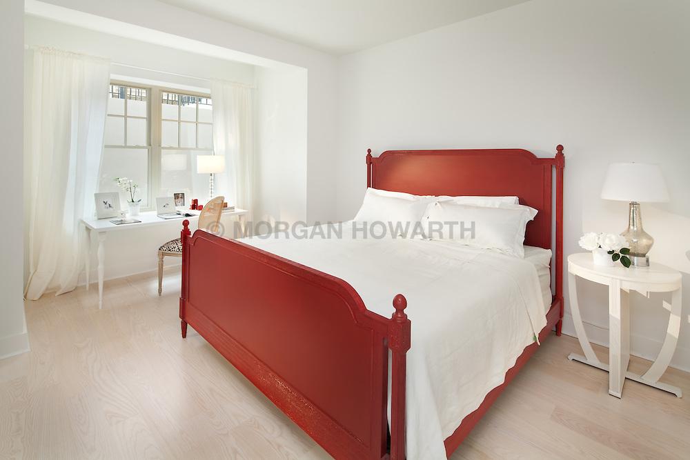 3606_Rock_Creek_Church bedroom with red wood queen bed