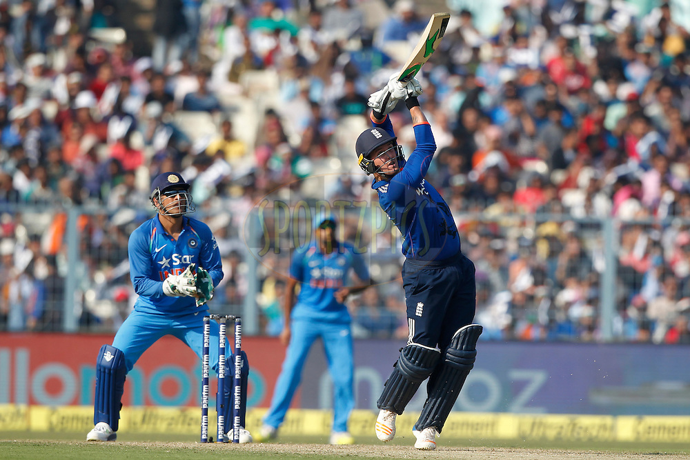 Jason Roy of England hits over the top for a six during the third One Day International (ODI) between India and England  held at Eden Gardens in Kolkata on the 22nd January 2017<br /> <br /> Photo by: Deepak Malik/ BCCI/ SPORTZPICS