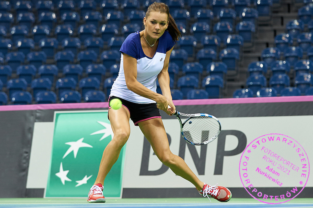 Agnieszka Radwanska from Poland in action during official training session three days before the Fed Cup / World Group 1st round tennis match between Poland and Russia at Krakow Arena on February 4, 2015 in Cracow, Poland<br /> Poland, Cracow, February 4, 2015<br /> <br /> Picture also available in RAW (NEF) or TIFF format on special request.<br /> <br /> For editorial use only. Any commercial or promotional use requires permission.<br /> <br /> Mandatory credit:<br /> Photo by &copy; Adam Nurkiewicz / Mediasport
