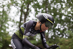 Eva Buurman (NED) of Parkhotel Valkenburg - Destil Cycling Team tackles the first climb of Stage 4 of the Lotto Thuringen Ladies Tour - a 18.7 km individual time trial, starting and finishing in Schmolln on July 16, 2017, in Thuringen, Germany. (Photo by Balint Hamvas/Velofocus.com)
