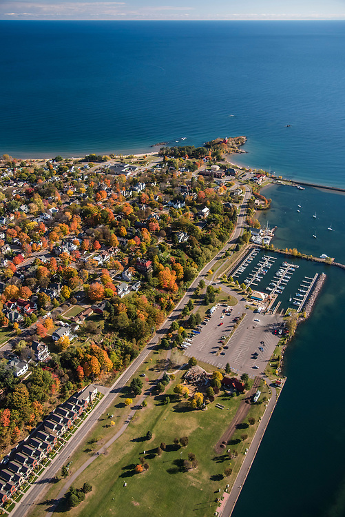 Aerial photography of  Marquette, Michigan's Lower Harbor and Lake Superior with fall color.