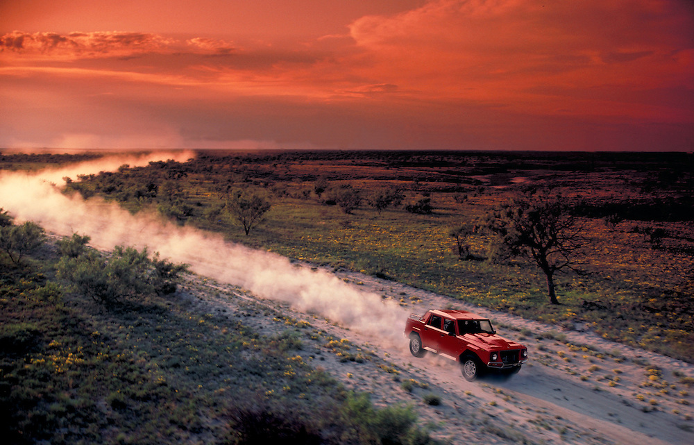 Lamborghini Speeding through West Texas aerial photograph from a helicopter.