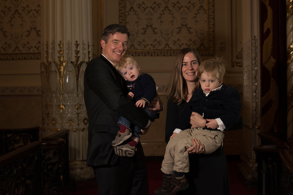 Christian Schornich and wife Eva Brumeister with their sons at Heinz Hall.