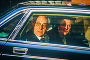 British Prime Minister, Margaret Thatcher's political career of 11 years ends emotionally by being driven through the gates of Downing Street after being deposed in a leadership challenge, alongside husband and lifelong confidente, Dennis, on 28th November 1990 in London, England.