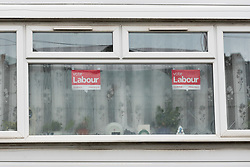 © Licensed to London News Pictures. 02/05/2018. London, UK. Vote Labour posters seen in a window of Jeremy Corbyn, the Labour Party leader's north London home today, the day before local elections take place in London and across the country. Photo credit: Vickie Flores/LNP