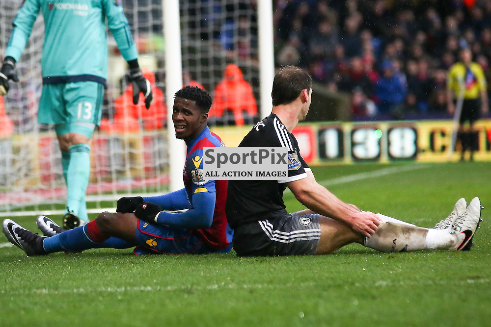 Wilfried Zaha of Crystal Palace shows his frustration During Crystal Palace vs Chelsea Sunday 3rd January 2016
