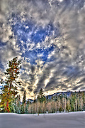 USA, Idaho, Valley County, Tamarack Resort, a Winter Sunset