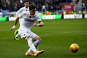 Leeds United midfielder Pablo Hernandez (19) hits the post in the last minute during the EFL Sky Bet Championship match between Wigan Athletic and Leeds United at the DW Stadium, Wigan, England on 4 November 2018.
