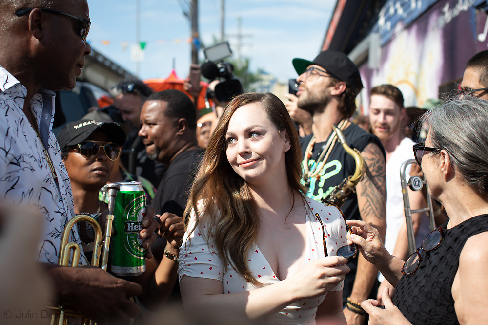Dr. John's granddaughter Stephanie O'Quin  at a second-line for  New Orleans legendary musician, Dr. John (Mac Rebennack) in New Orleans. Dr. John died of a heartattack on Jume 6, 2019