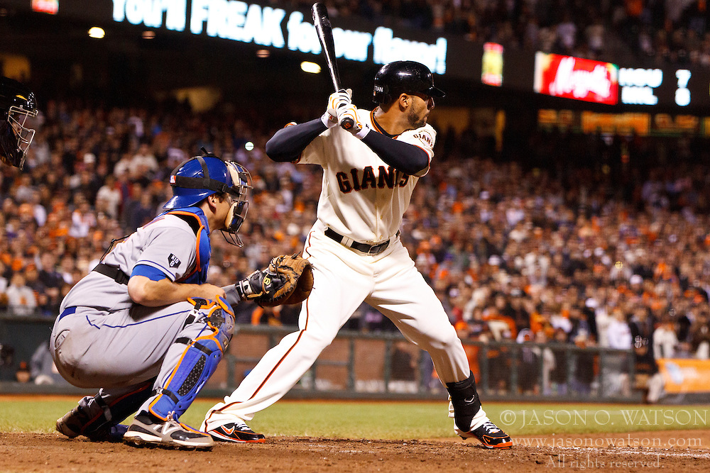 SAN FRANCISCO, CA - JULY 30: Justin Christian #51 of the San Francisco Giants at bat against the New York Mets during the ninth inning at AT&T Park on July 30, 2012 in San Francisco, California. The New York Mets defeated the San Francisco Giants 8-7 in 10 innings. (Photo by Jason O. Watson/Getty Images) *** Local Caption *** Justin Christian