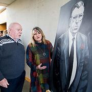 24.03.2017            <br /> Limerick Civic Trust, Marjorie Daly commissioned Jim Kemmy Portrait unveiling by Jan O'Sullivan TD at the Kemmy Business School, University of Limerick. <br /> <br /> Pictured at the event were, Joe Kemmy brother of Jim Kemmy and Marjorie Daly, Artist. Picture: Alan Place