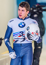 17.01.2020, Olympia Eiskanal, Innsbruck, AUT, BMW IBSF Weltcup Bob und Skeleton, Igls, Skeleton, Herren, 2. Lauf, im Bild Samuel Maier (AUT) // Samuel Maier of Austria reacts after his 2nd run of men's Skeleton competition of BMW IBSF World Cup at the Olympia Eiskanal in Innsbruck, Austria on 2020/01/17. EXPA Pictures © 2020, PhotoCredit: EXPA/ Stefan Adelsberger