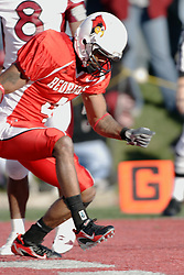 14 October 2006: Pierre Jackson does a happy dance after making it into the end zone. The 6th largest crowd at Hancock Stadium came to watch a game that put 8th ranked Southern Illinois Salukis against 5th ranked Illinois State University Redbirds.  The Redbirds stole the show for a Homecoming win by a score of 37 - 10. Competition commenced at Hancock Stadium on the campus of Illinois State University in Normal Illinois.<br />