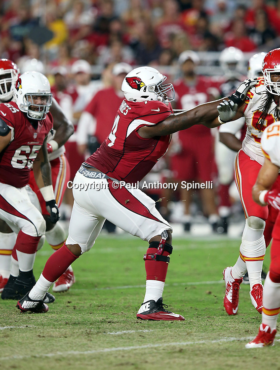 Arizona Cardinals offensive tackle D.J. Humphries (74) blocks during the 2015 NFL preseason football game against the Kansas City Chiefs on Saturday, Aug. 15, 2015 in Glendale, Ariz. The Chiefs won the game 34-19. (©Paul Anthony Spinelli)