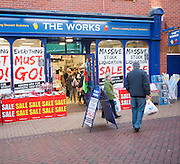 Clearance sale at The Works discount book store,  The Buttermarket, Ipswich, Suffolk, England