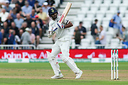Shikhar Dhawan of India leaves a delivery from Ben Stokes of England during the 3rd International Test Match 2018 match between England and India at Trent Bridge, West Bridgford, United Kingdon on 18 August 2018.