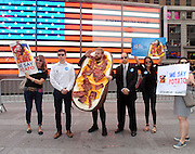 Loaded Potato Skin, the iconic appetizer from TGI Fridays, announces his candidacy for President of the United States, Tuesday, July 21, 2015 in New York.  Mr. Potato Skin is the 16th candidate in an already crowded field, and while not affiliated with any political party, he knows how to party and is prepared to prove it.  Mr. Potato Skin encourages supporters to visit www.skin4president.com and use #PotatoPOTUS and #PotatoInChief in social conversations.  (Photo by Diane Bondareff/Invision for TGI Fridays/AP Images)