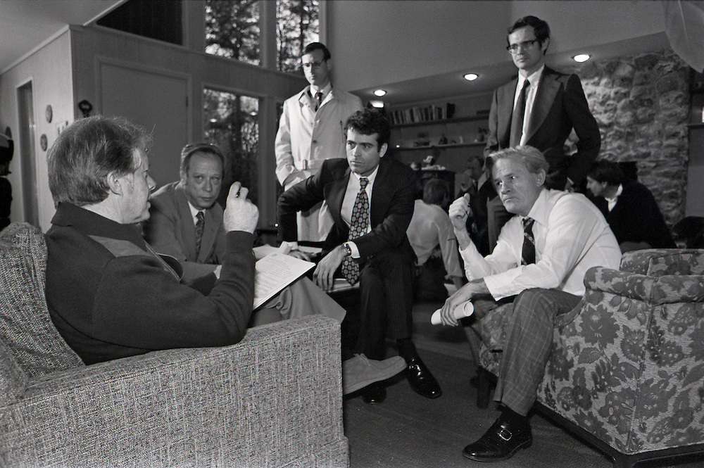 "President elect Jimmy Carter meets with cabinet members, his Chief of Staff - Jack Watson (center) and staff at his family retreat - ""The Pond House"" outside of Plains, Georgia. January, 1977."