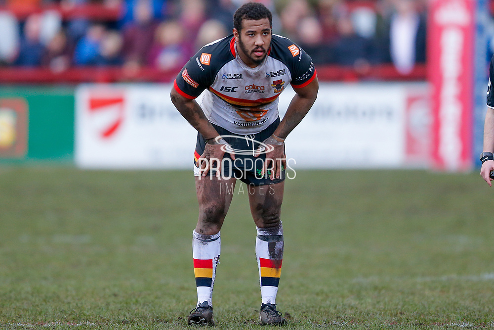 Bradford Bulls interchange Ross Peltier (17)  during the Betfred League 1 match between Keighley Cougars and Bradford Bulls at Cougar Park, Keighley, United Kingdom on 11 March 2018. Picture by Simon Davies.