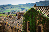 SAN GIMIGNANO, ITALY - CIRCA MAY 2015:  Rooftops in San Gimignano in Tuscany