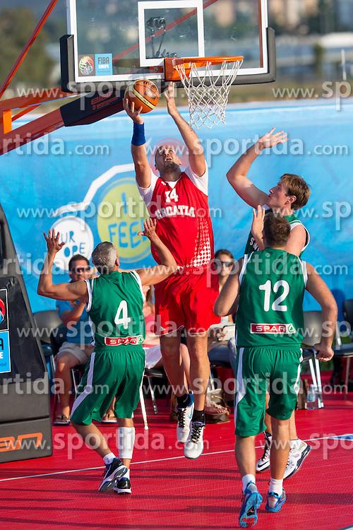 Dino Rada of Croatia during exhibition match between Croatia, Italy and Slovenia at Eurobasket 2013 promotion Basketball on sea raft on August 24, 2013, Koper, Slovenia. (Photo by Matic Klansek Velej / Sportida.com)