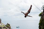 DE ROSE ALESSANDRO  ITA<br /> 32&deg; MarMeeting - Mediterrean cup - High Diving Competition<br /> Tuffi Grandi Altezze<br /> Fiordo di Furore - Furore Fiord Furore Costiera Amalfitana (SA)<br /> Photo &copy; YuriGiglio/deepbluemedia<br /> 20180903