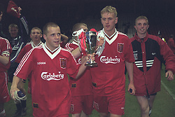 LIVERPOOL, ENGLAND - MAY 1996: Liverpool's Lee Prior and Mark Turkington (R) celebrate winning the FA Youth Cup after beating West Ham United during the Final 2nd Leg at Anfield. (Pic by David Rawcliffe/Propaganda)