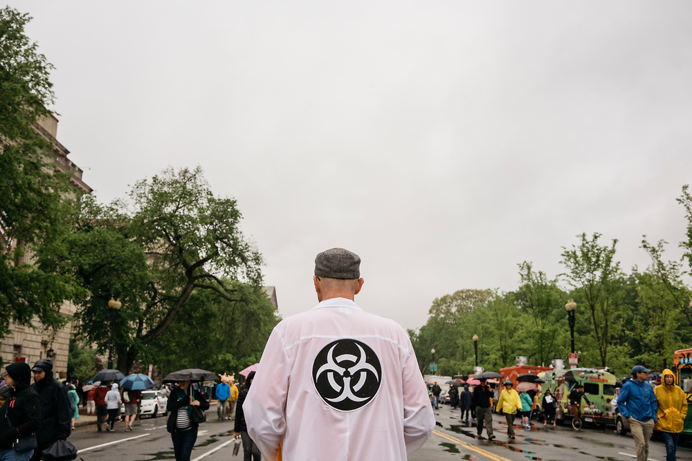 Protesters gather before the March for Science in Washington, D.C. on Earth Day 2017.