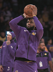 October 20, 2018 - Los Angeles, California, U.S - LeBron James #23 of the Los Angeles Lakers during warmups prior to their NBA game with the Houston Rockets on Saturday October 20, 2018 at the Staples Center in Los Angeles, California. (Credit Image: © Prensa Internacional via ZUMA Wire)