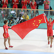 Track Cycling - Olympics: Day 6  Jinjie Gong #173 and Tianshi Zhong of the People's Republic of China<br /> celebrate after winning the gold medal in the Women's Team Sprint during the track cycling competition at the Rio Olympic Velodrome August 12, 2016 in Rio de Janeiro, Brazil. (Photo by Tim Clayton/Corbis via Getty Images)
