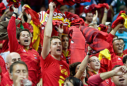 Fans of Spain celebrate during the EuroBasket 2009 Semi-final match between Spain and Greece, on September 19, 2009, in Arena Spodek, Katowice, Poland.  (Photo by Vid Ponikvar / Sportida)