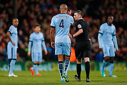 Vincent Kompany of Manchester City appeals to referee Michael Oliver after Glenn Murray of Crystal Palace scores a goal to make it 1-0 - Photo mandatory by-line: Rogan Thomson/JMP - 07966 386802 - 06/04/2015 - SPORT - FOOTBALL - London, England - Selhurst Park - Crystal Palace v Manchester City - Barclays Premier League.