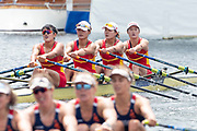 Henley Royal Regatta, 3-7 July 2019. Chinese National Rowing Team, China, CHN, (top) lead Hollandia Roeiclub, Netherlands, NED, (bottom), as they approach the Finish Line, to win the Princess Grace Challenge Cup, Royal Henley Peace Regatta Centenary, 1919-2019. Henley on Thames.<br /> <br /> <br /> <br /> [Mandatory Credit: Patrick WHITE/Intersport Images], 7, 07/07/2019,  13:07:21