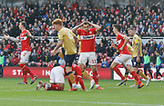 Middlesbrough forward Jordan Hugill (11) rues a missed chance during the EFL Sky Bet Championship match between Middlesbrough and Nottingham Forest at the Riverside Stadium, Middlesbrough, England on 6 October 2018.