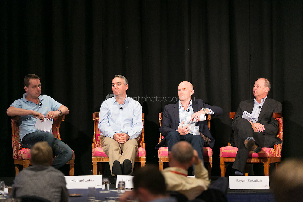 Australian Private Equity and Venture Capital Association Limited (AVCAL). Alpha Conference. Investor Symposium. Michael Lukin (Chair), Bryan Zekulich, Chris Paxton, Eugene Snyman. Day 1. 2013. Photo By Pat Brunet/Event Photos Australia