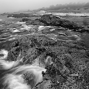 Rocky Shoreline In The Fog - Weston Beach - Point Lobos, CA - Black & White