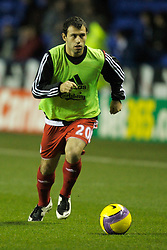 Reading, England - Saturday, December 8, 2007: Liverpool's Javier Mascherano warms-up before the Premiership match against Reading at the Madejski Stadium. (Photo by David Rawcliffe/Propaganda)