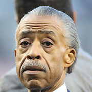 Al Sharpton, an American Baptist minister, civil rights activist, and television/radio talk show host during presentations before the New York Yankees V Chicago Cubs, double header game two at Yankee Stadium, The Bronx, New York. 16th April 2014. Photo Tim Clayton