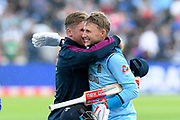 England win - Joe Root of England is hugged by Jason Roy of England during the ICC Cricket World Cup 2019 semi final match between Australia and England at Edgbaston, Birmingham, United Kingdom on 11 July 2019.