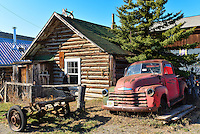 An old cabin and truck in Carcross, Yukon