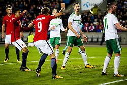October 8, 2017 - Oslo, NORWAY - 171008 Alexander SÂ¿rloth, Mohamed Elyounoussi and Alexander Toft SÂ¿derlund of Norway celebrate the 1-0 goal while George Saville, Jonny Evans and Chris Brunt of Northern Ireland look dejected during the FIFA World Cup Qualifier match between Norway and Northern Ireland on October 8, 2017 in Oslo..Photo: Fredrik Varfjell / BILDBYRN / kod FV / 150028 (Credit Image: © Fredrik Varfjell/Bildbyran via ZUMA Wire)