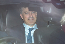 © Licensed to London News Pictures. 29/10/2019. London, UK. Secretary of State for Northern Ireland Julian Smith arriving at the Houses of Parliament in a car this afternoon. Photo credit : Tom Nicholson/LNP