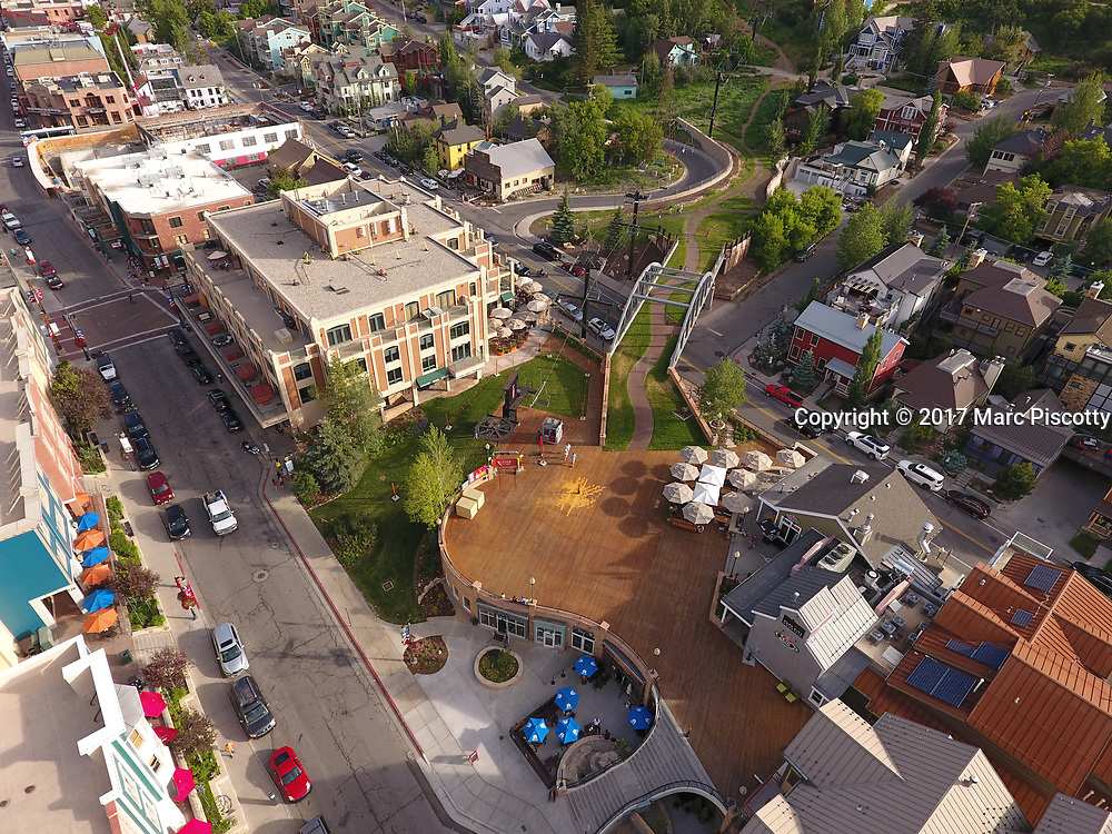 SHOT 7/1/17 6:55:38 PM - Drone photos of Park City, Utah. Park City lies east of Salt Lake City in the western state of Utah. Framed by the craggy Wasatch Range, it's bordered by the Deer Valley Resort and the huge Park City Mountain Resort, both known for their ski slopes. Utah Olympic Park, to the north, hosted the 2002 Winter Olympics and is now predominantly a training facility. In town, Main Street is lined with buildings built during a 19th-century silver mining boom. (Photo by Marc Piscotty / © 2017)